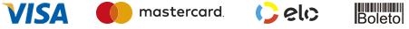 Aceitamos cartão de crédito Visa, Mastercard, Elo e Boleto Bancário.